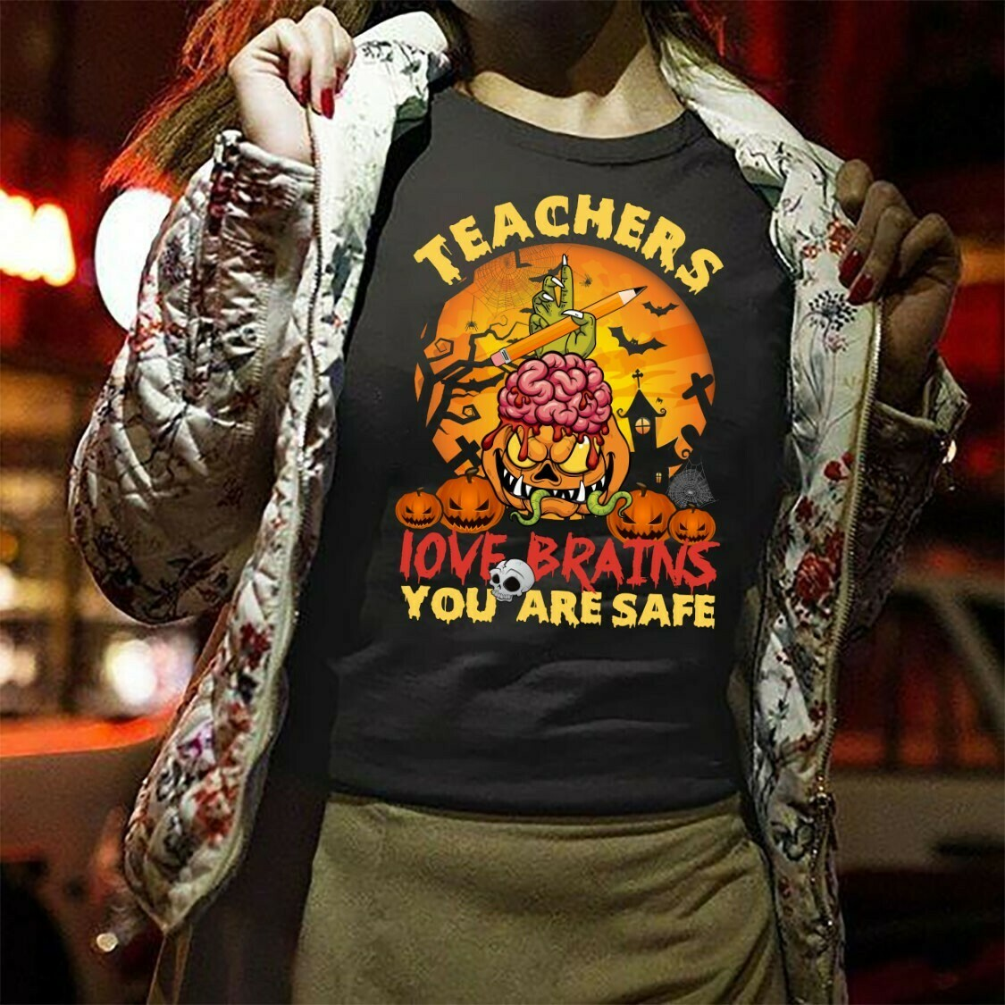 Teachers Love Brains You Are Sale, Zombie Pumpkin Teacher Halloween Not So Scary Gifts T-shirt For Lovers Teachers On Halloween Day Long Sleeve Sweatshirt Hoodie Jolly Family Gifts