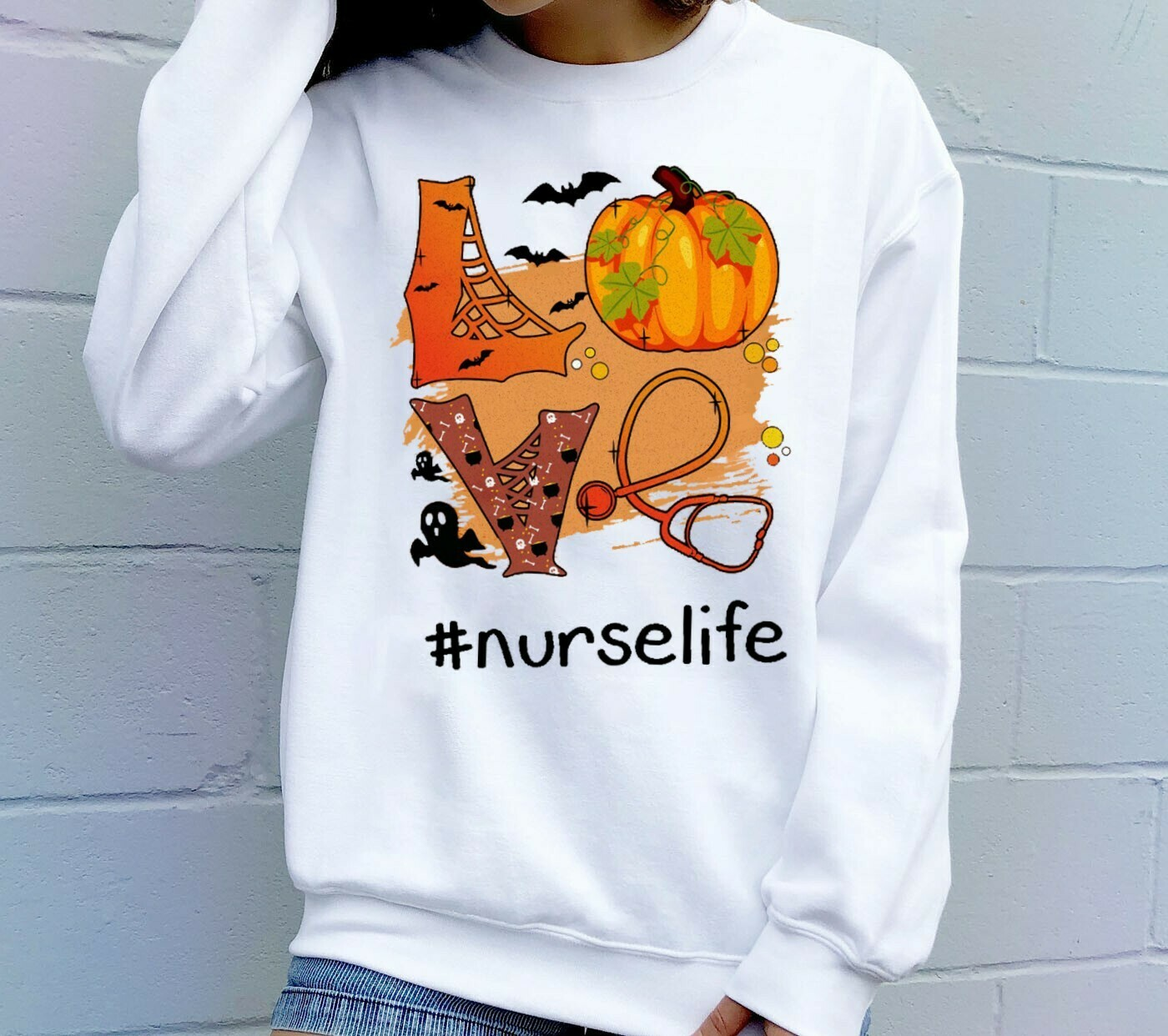 Love Nurselife Pumpkin Halloween Gift T-Shirt for Nurse Heartbeats Nursing Student Graduation School RN Registered Halloween Vacation Long Sleeve Sweatshirt Hoodie Jolly Family Gifts