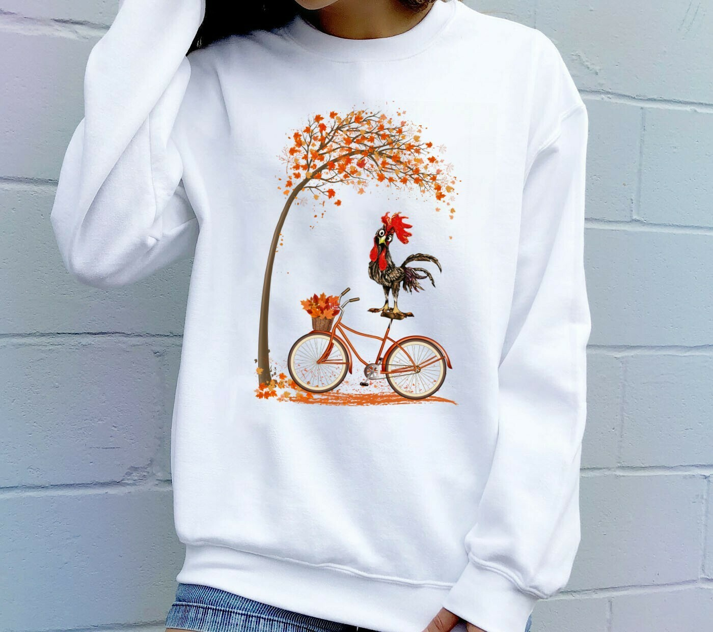 Happy Fall Autumn Leaves Chicken Halloween Shirt Gifts For Lovers Autumn Funny Chicken Farmers Family Vacation Party T-Shirt Long Sleeve Sweatshirt Hoodie Jolly Family Gifts