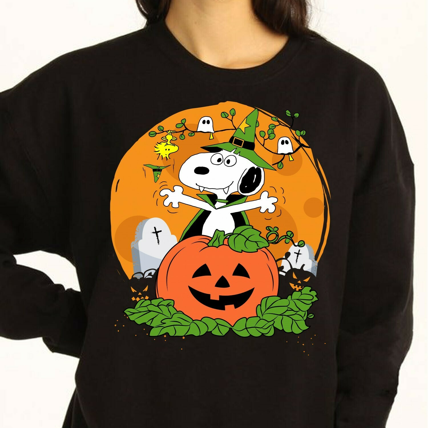 Snoopy Pumpkin Halloween, Snoopy Vampire And Peanuts Trick Or Treat Halloween Costume,Ghost Bat Family Vacation Gifts T-Shirt Long Sleeve Sweatshirt Hoodie Jolly Family Gifts