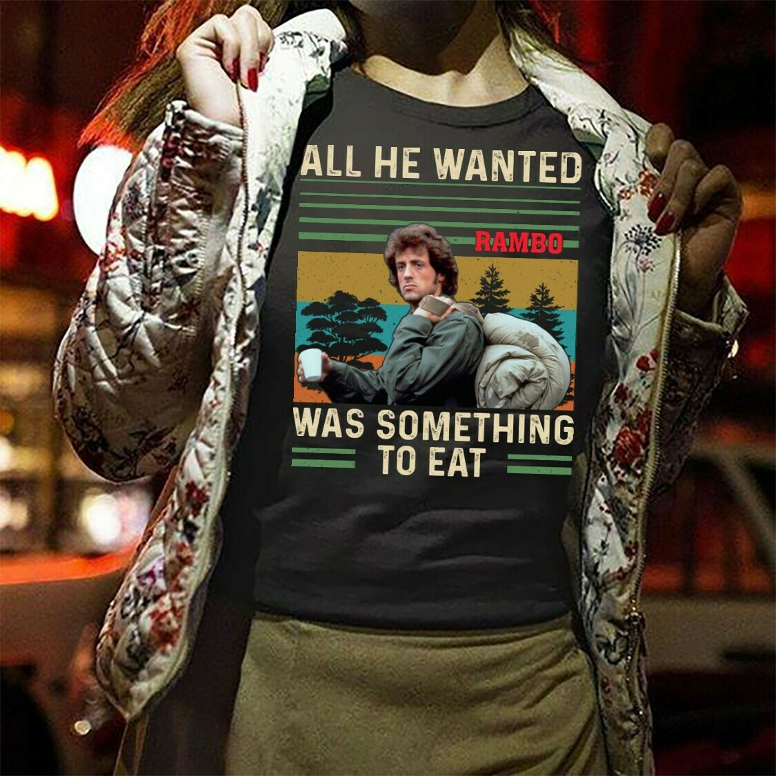 John Rambo All He Wanted Was Something To Eat The Last Blood 2019 Gifts for Friday The 13th Villains Halloween 80's Horror movie T Shirt Long Sleeve Sweatshirt Hoodie Jolly Family Gifts