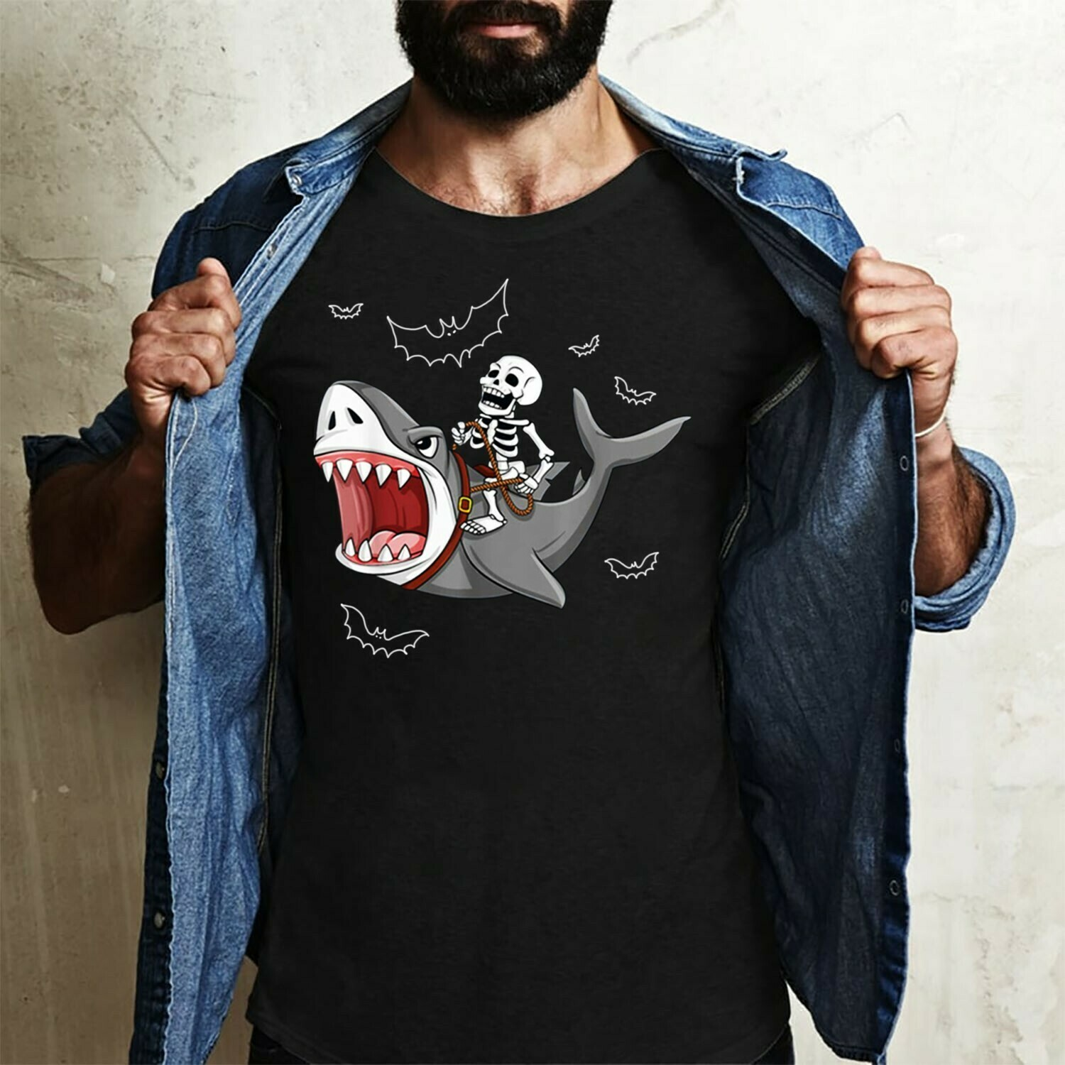 Skeleton Riding Shark Shirt Skeleton Skull Shark Jawsome Not So Scary Halloween Horror Costume,Ghost Bat Family Vacation Party Gifts T-Shirt Long Sleeve Sweatshirt Hoodie Jolly Family Gifts