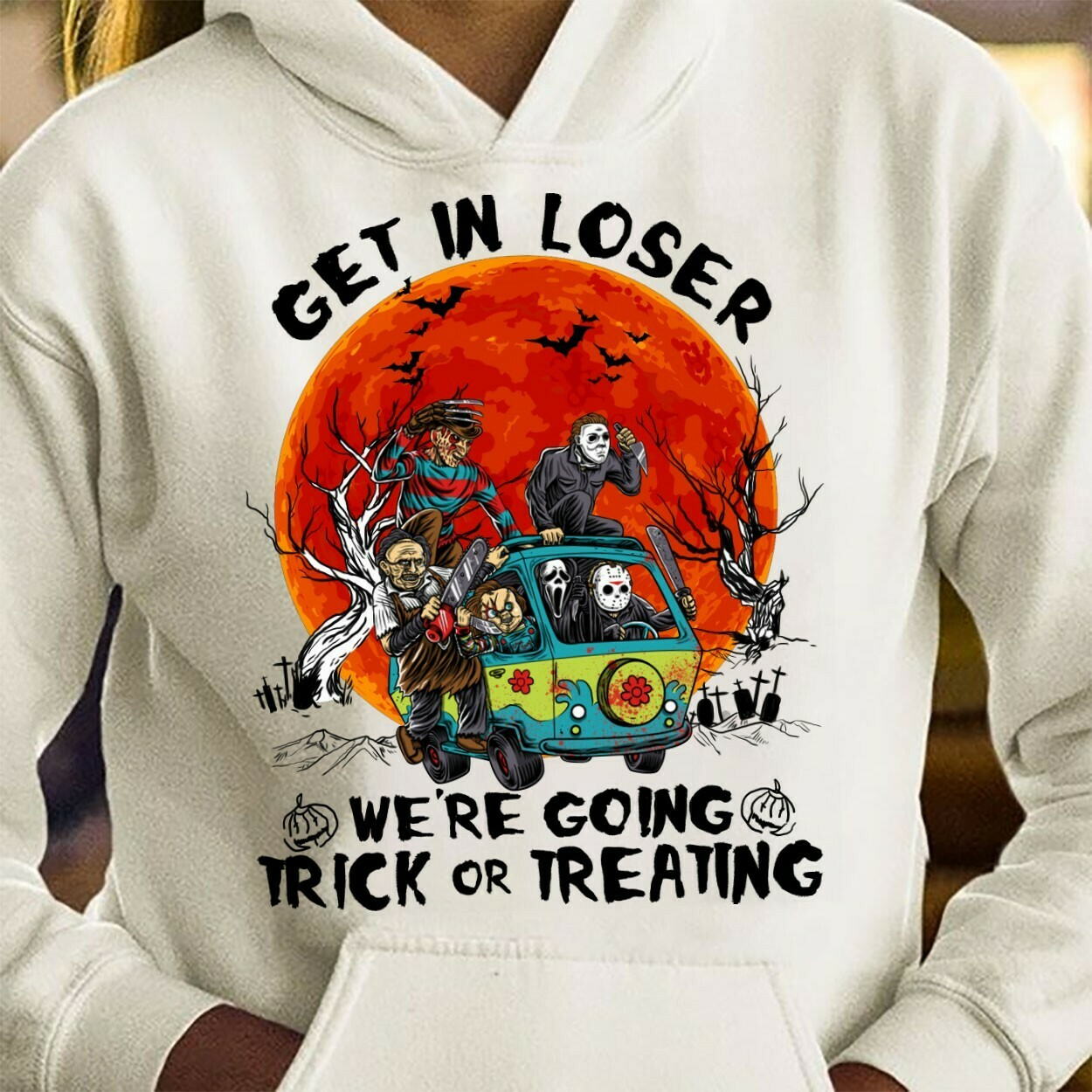 Get In Loser We're Going Trick Or Treating Pennywise Squad Hippie Van Car Mashup Halloween Horror Movie T Shirt Long Sleeve Sweatshirt Hoodie Jolly Family Gifts