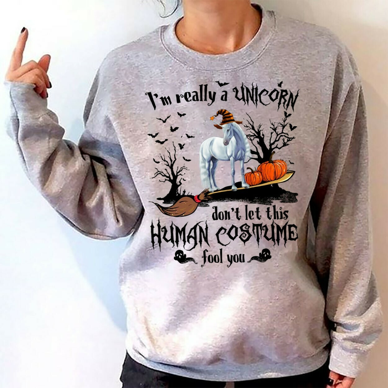 I'm Really A Unicorn Don't Let This Human Costume Fools You Halloween Pumpkin Witch Ghost Bat Family Vacation Team Party Gifts T-Shirt Long Sleeve Sweatshirt Hoodie Jolly Family Gifts
