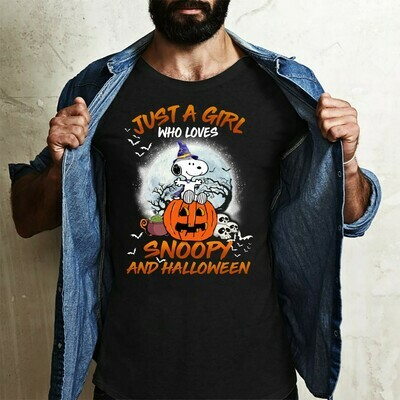Snoopy Witch Pumpkin Just A Girl Who Loves Snoopy And Halloween Trick Or Treat Halloween Costume,Ghost Bat Family Vacation Gifts T-Shirt Long Sleeve Sweatshirt Hoodie Jolly Family Gifts