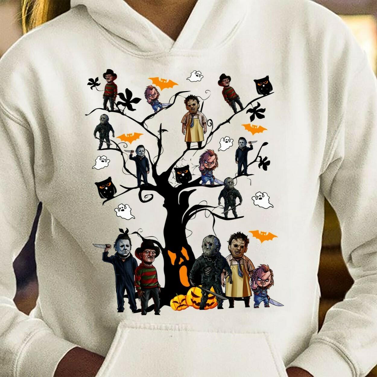 Horror character Halloween Tree Squad Friday The 13th Villains Halloween Horror movie mashup Halloween squad tee T Shirt Long Sleeve Sweatshirt Hoodie Jolly Family Gifts