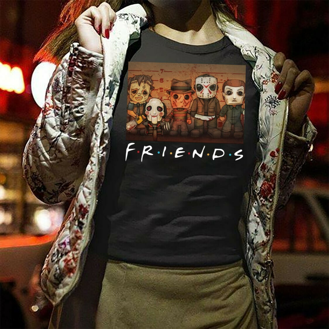 Friends Horror Character Squad Gift for Fan Lover Horror Movie Friday The 13th Villains Halloween Horror movie mashup squad T-Shirt Long Sleeve Sweatshirt Hoodie Jolly Family Gifts