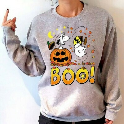 Snoopy Charlie Brown And Peanuts Boo Pumpkin Halloween Costume, Love Autumn Gifts Best Friends Family Party Vacation Unisex T-Shirt Long Sleeve Sweatshirt Hoodie Jolly Family Gifts