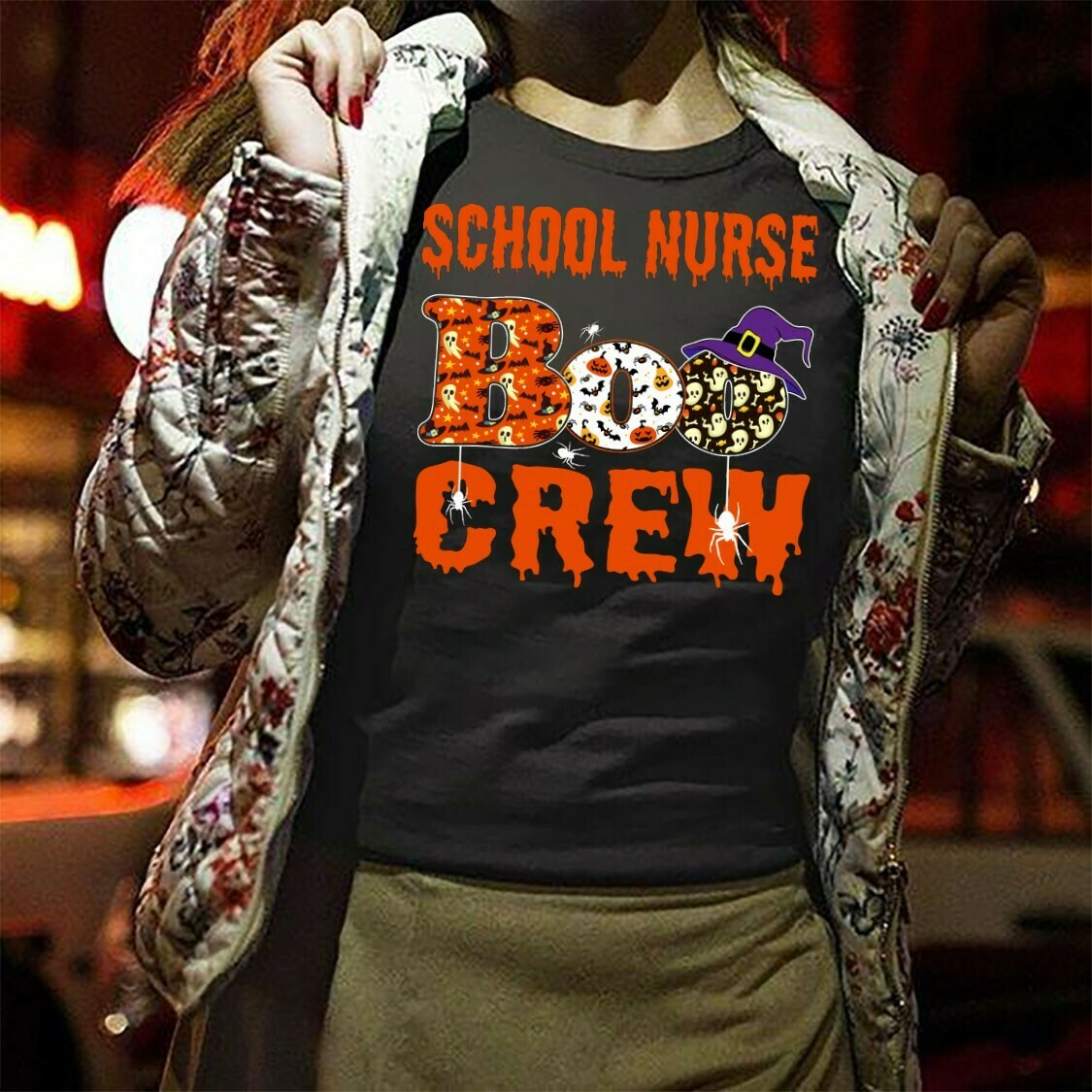 School Nurse Boo Crew Boo Bees Halloween Shirt Funny Boo Pair Impressive Perfect Gift idea For Yourself And Friends Long Sleeve Sweatshirt Hoodie Jolly Family Gifts