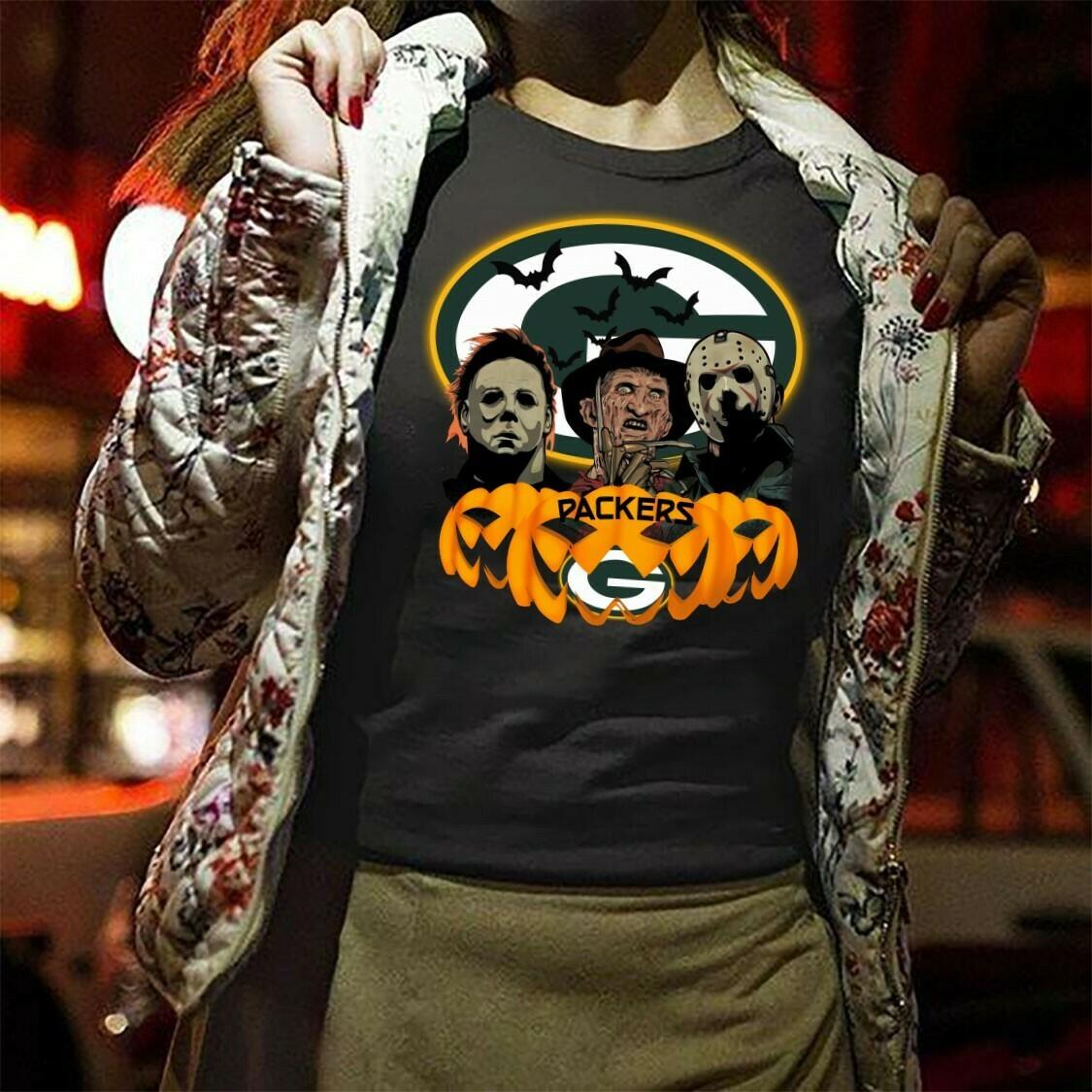 Packers Pumpkin Horror Squad Friday The 13th Villains Halloween Movie Freddy Krueger Michael Myers Jason Voorhees Disney Mickey Scary Tshirt Long Sleeve Sweatshirt Hoodie Jolly Family Gifts