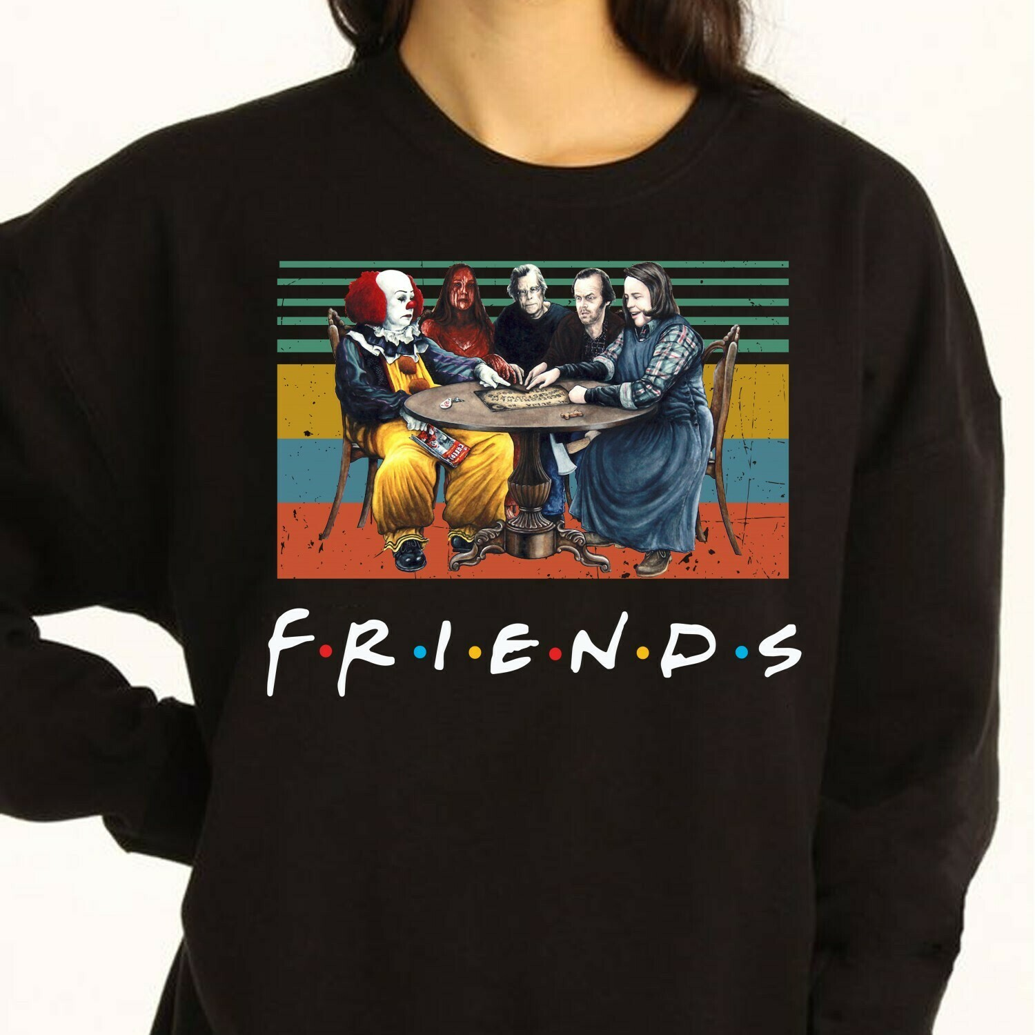Friends IT Characters Halloween Jocker Horror Pennywise Squad We All Float Down Here Squad Villains Movie Mashup T-Shirt Long Sleeve Sweatshirt Hoodie Jolly Family Gifts