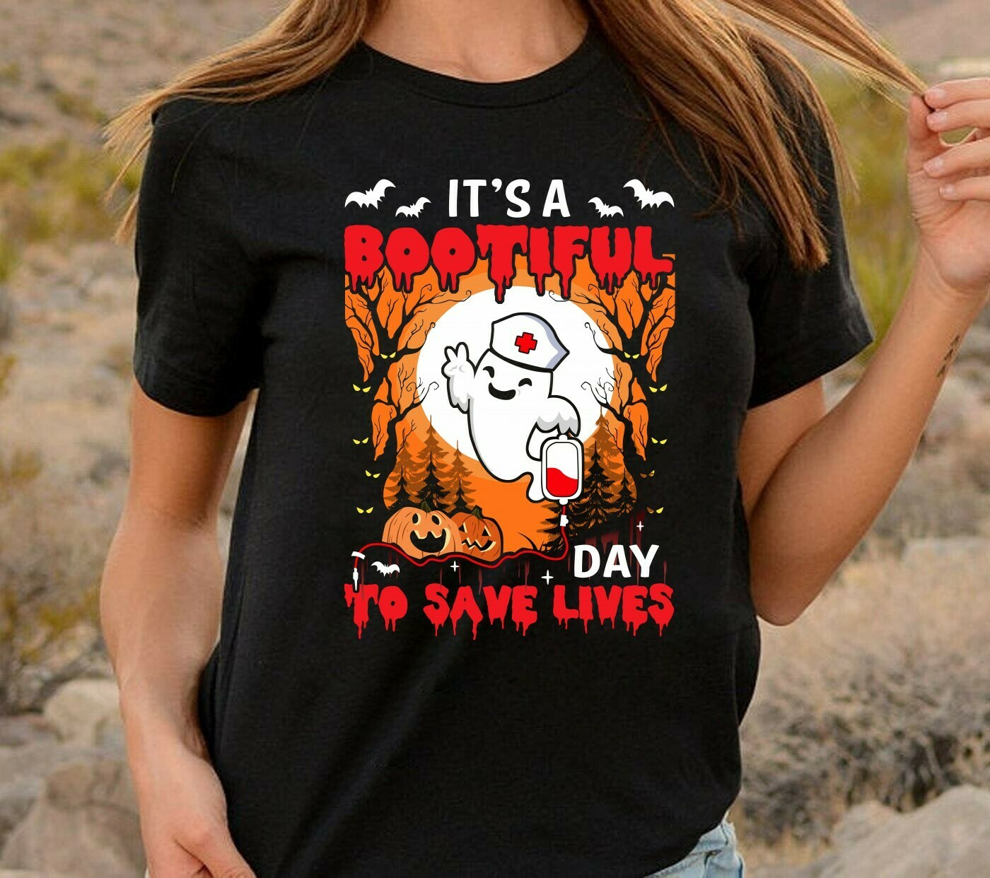 Boo Boo Crew Nurse It's A Bootifull Day To Save Lives gift for Love Nurselife Heartbeats RN Registered Halloween T-Shirt Long Sleeve Sweatshirt Hoodie Jolly Family Gifts