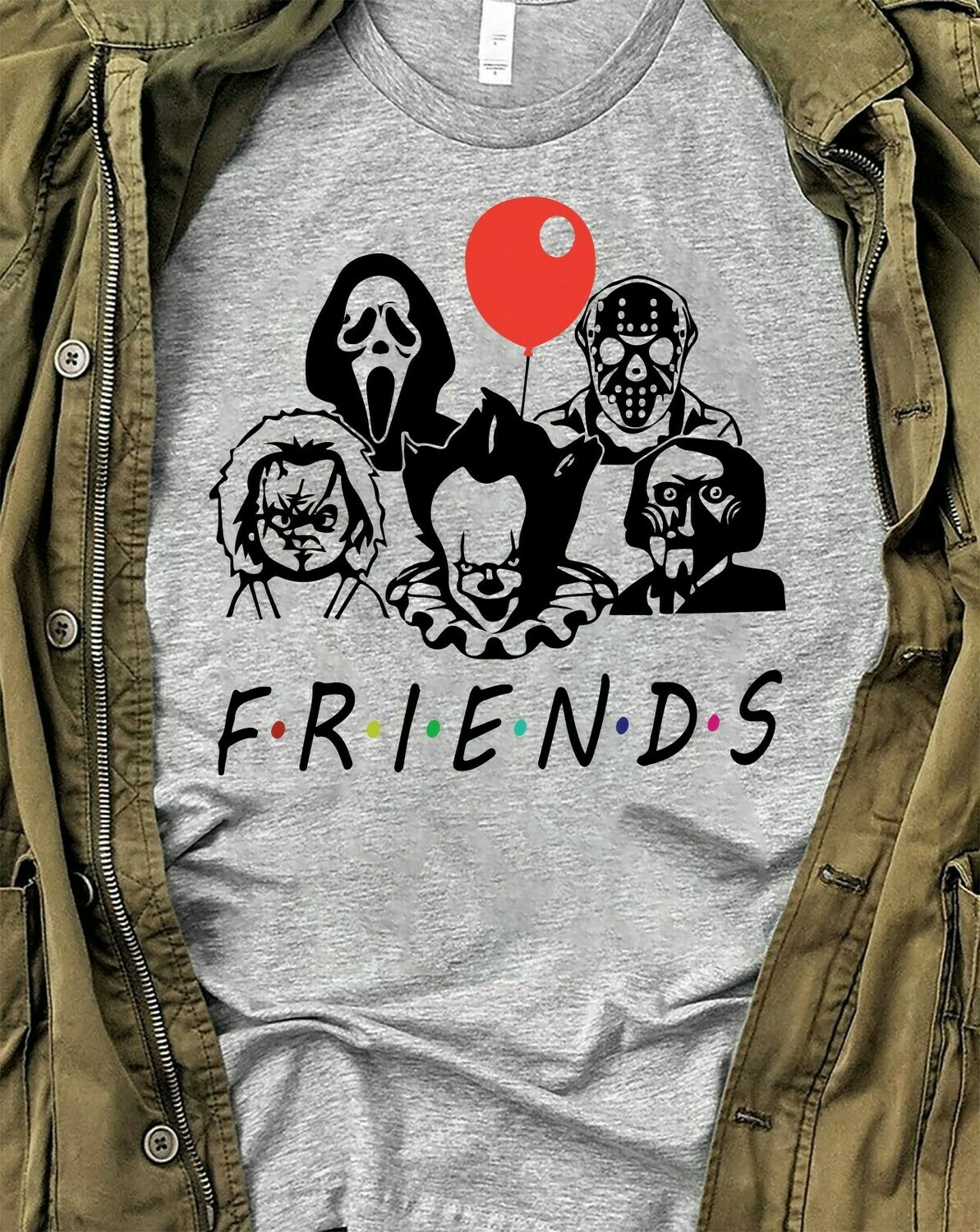 Friends IT Pennywise We All Float Down Here Squad Friday The 13th Villains Halloween Horror Character movie mashup Halloween squad T-Shirt Long Sleeve Sweatshirt Hoodie Jolly Family Gifts