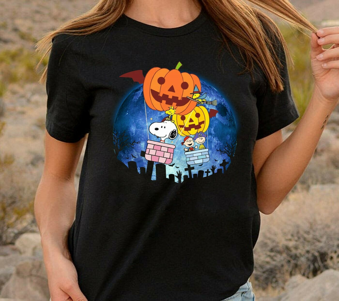 Snoopy In The Moonlight Snoopy Charlie Brown And Peanuts Witch Halloween Costume,Ghost Bat Gifts Best Friends Family Vacation Unisex T-Shirt Long Sleeve Sweatshirt Hoodie Jolly Family Gifts