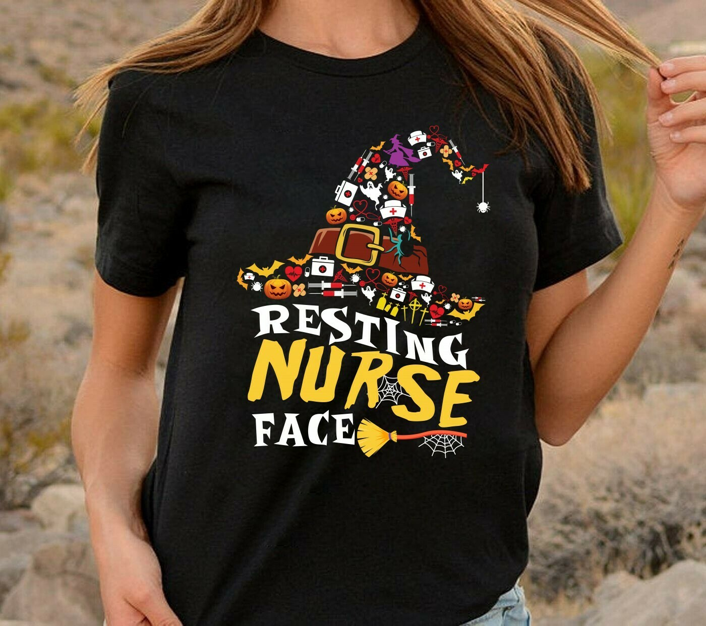 Witch Hat Resting Nurse Face Gifts for Nurses Love Nurselife Heartbeats Nursing Student Graduation School RN Registered On Halloween T-Shirt Long Sleeve Sweatshirt Hoodie Jolly Family Gifts