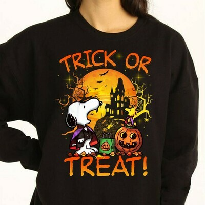 Snoopy Vampire ,Snoopy And Peanuts Trick Or Treat Halloween Costume Gifts for Best Friend Family Vacation Gifts T-Shirt Long Sleeve Sweatshirt Hoodie Jolly Family Gifts