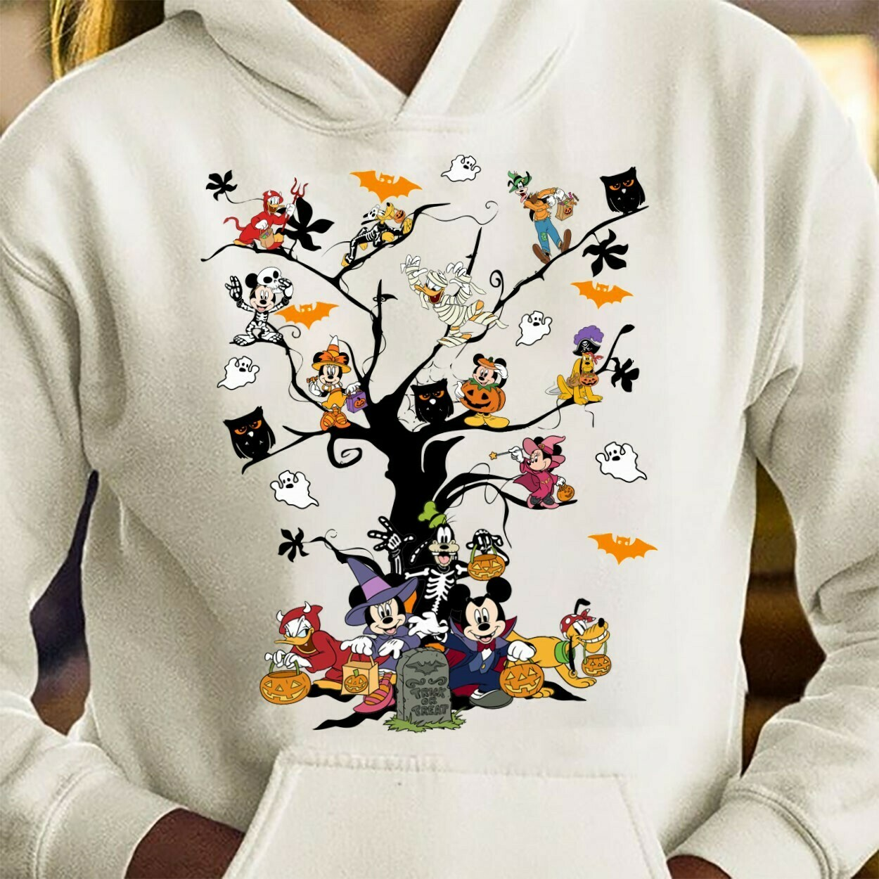 Disney Mickey Mouse And Friends Halloween Tree I'm going to Walt Disney Vacation Family Let's Go to Disney World Disneyland Tee Park T Shirt Long Sleeve Sweatshirt Hoodie Jolly Family Gifts