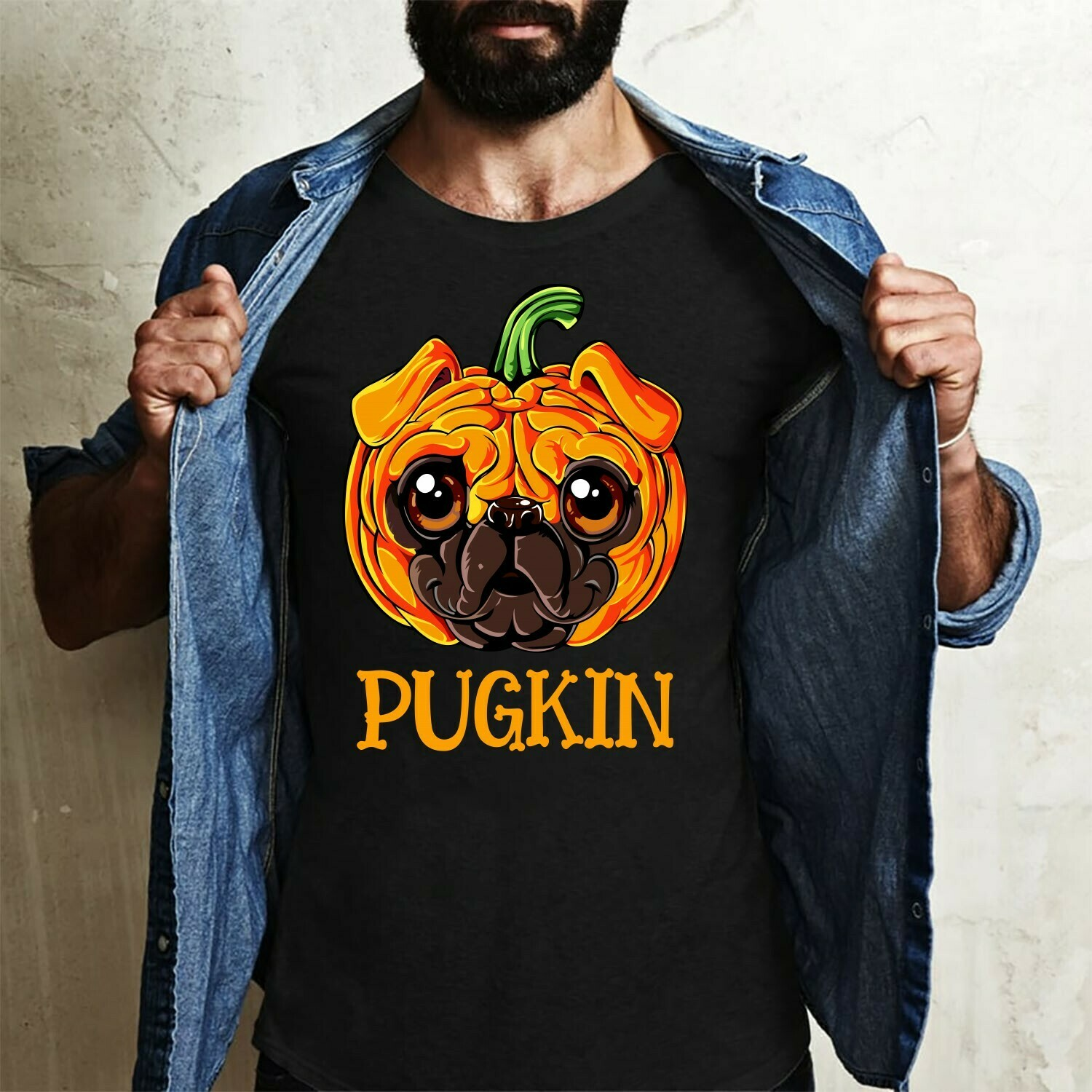 Pugkin Pug Halloween Shirt Gifts For Lovers Autumn Funny Cute Dog Pumpkin Family Vacation Team Party T-Shirt Long Sleeve Sweatshirt Hoodie Jolly Family Gifts