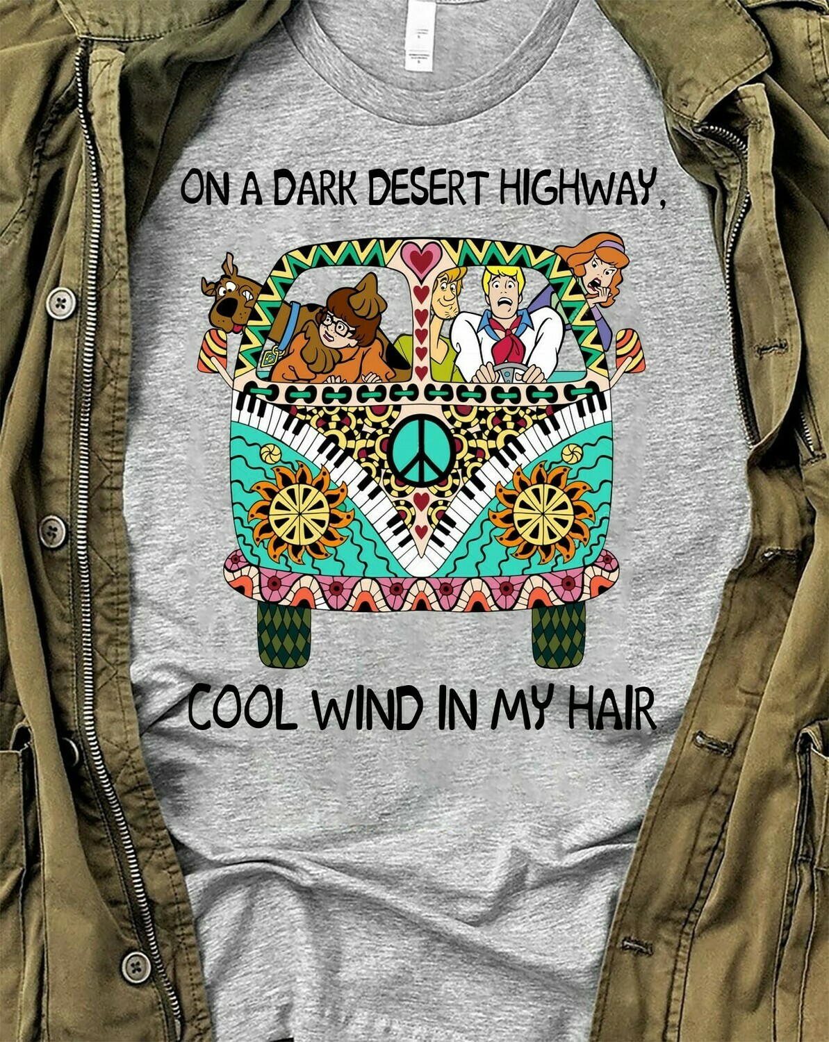 Hippie Van Car Scooby-Doo And Friend On A Dark Desert Highway, Cool Wind In My Hair Peace Love Sun Flower Gift T-Shirt Long Sleeve Sweatshirt Hoodie Jolly Family Gifts