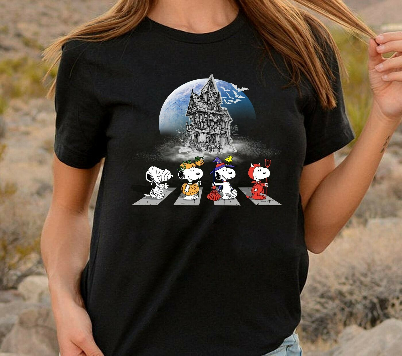 Snoopy Cosplay Halloween, Snoopy And Peanuts Trick Or Treat Halloween Costume Gifts for Best Friend Family Vacation Gifts T-Shirt Long Sleeve Sweatshirt Hoodie Jolly Family Gifts