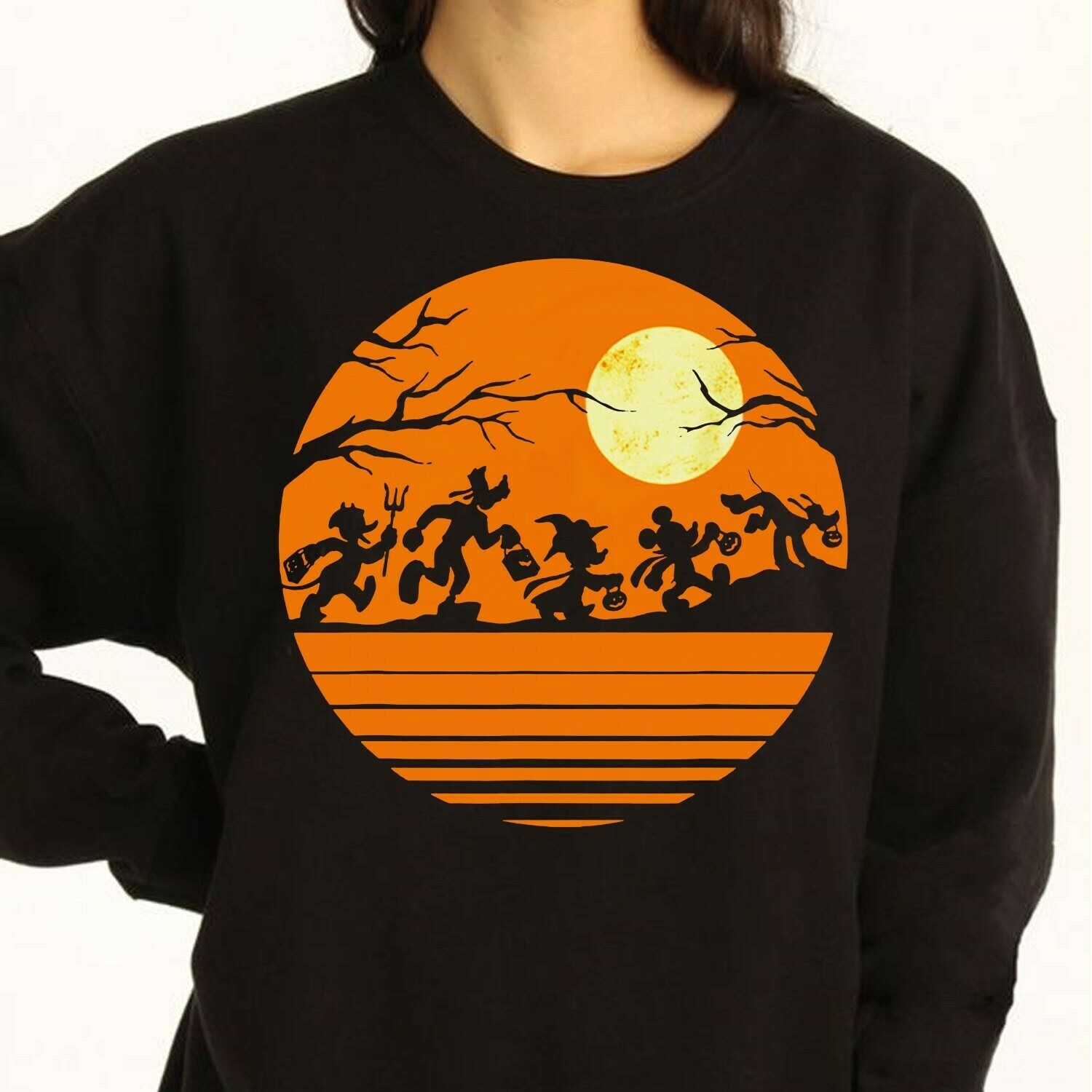 Disney Mickey Mouse and Friends Trick Or Treat Halloween Walk Under The Moon Let's Go to Disney World Disneyland Family Vacation T-Shirt Long Sleeve Sweatshirt Hoodie Jolly Family Gifts