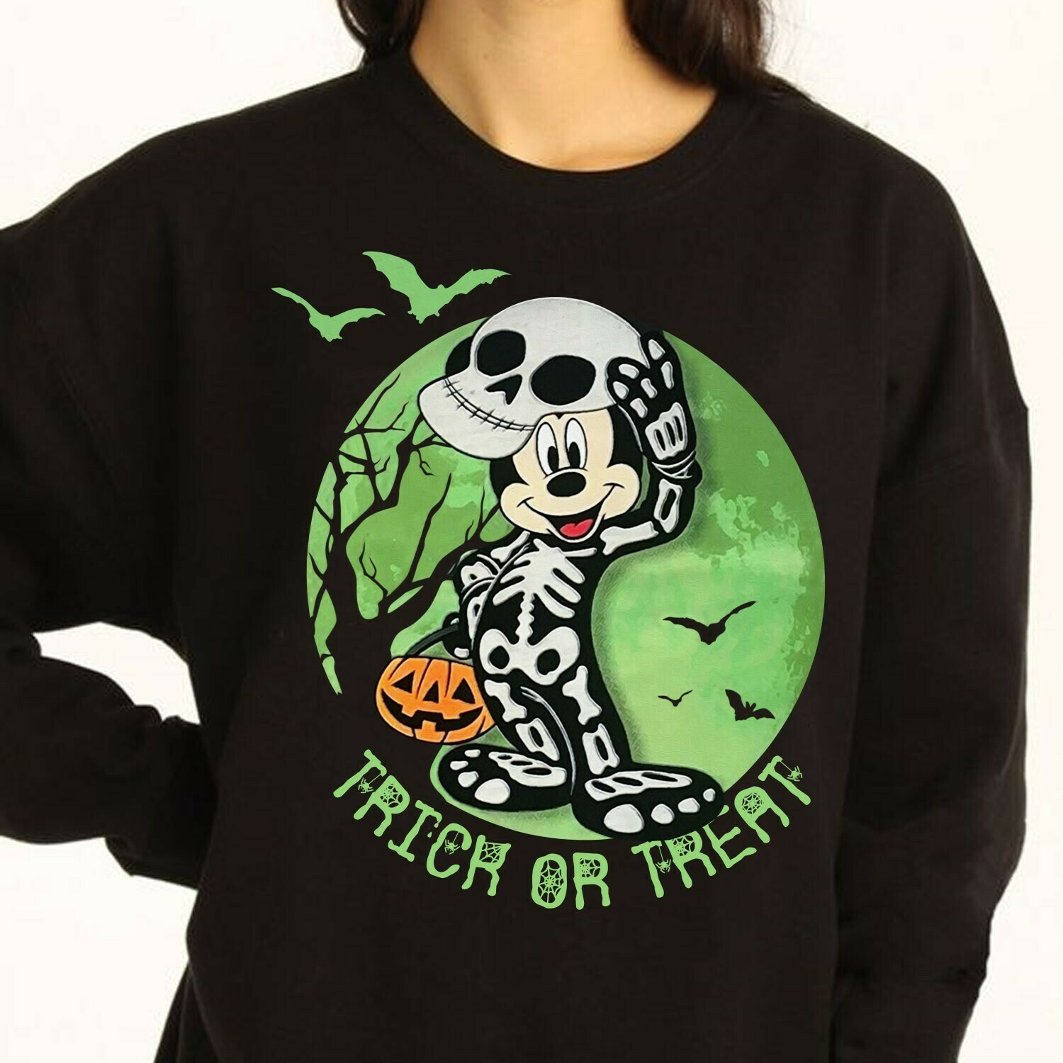 Disney Mickey Mouse Cosplay Skeleton Trick Or Treat In The Moonlight I'm going to Walt Disney Vacation Family Gifts For Best Friend T-Shirt Long Sleeve Sweatshirt Hoodie Jolly Family Gifts