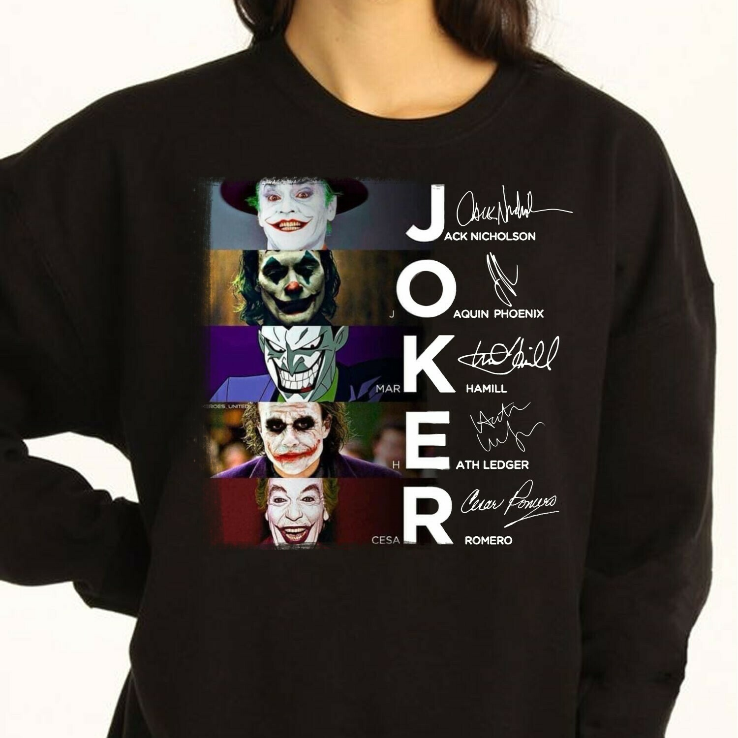 Joker All Version Signature Great Gifts Idea For Fans Here Comes Your Favorite Super Villain Halloween Horror Movie Mashup T Shirt Long Sleeve Sweatshirt Hoodie Jolly Family Gifts