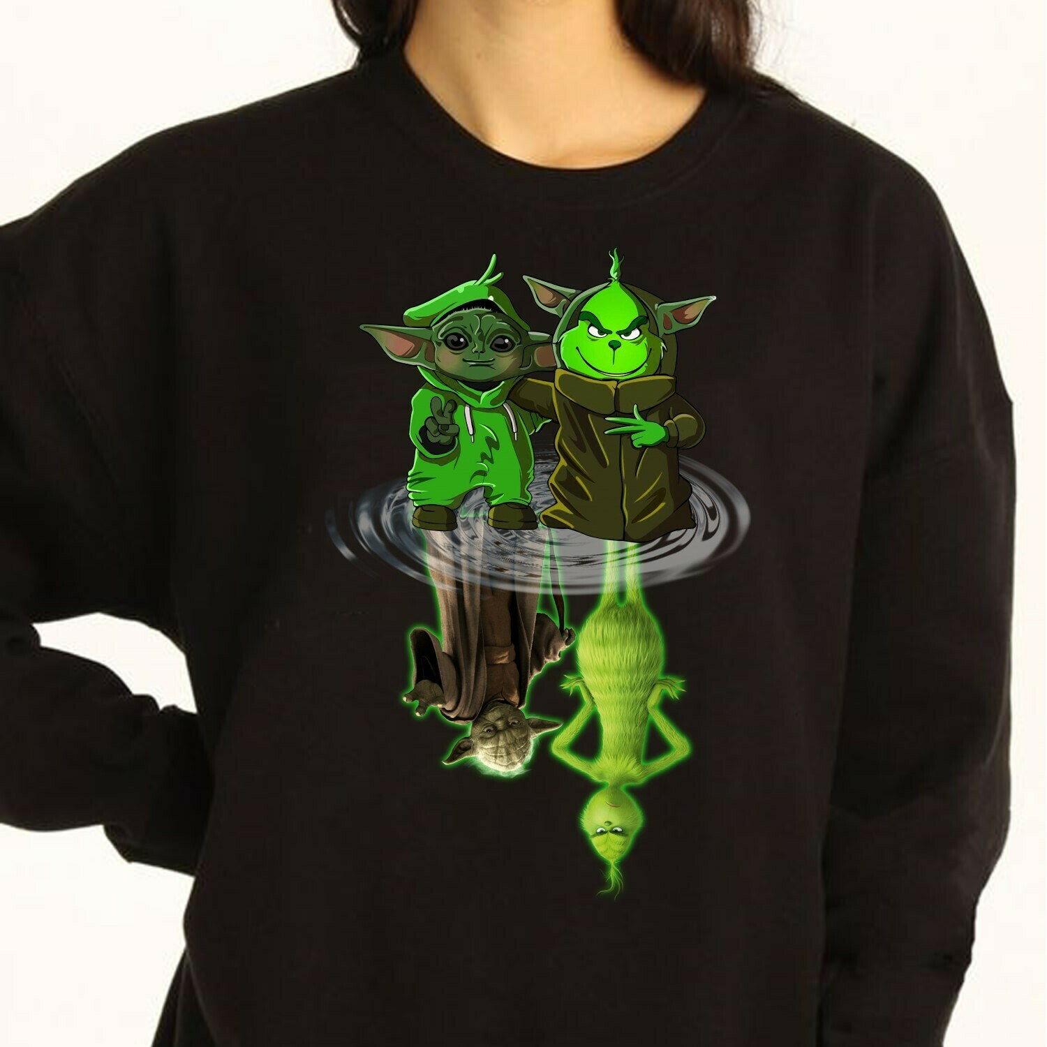 Baby Yoda Grinch and Master Yoda Grinch Water Reflection Apparel Mandalorian Star wars reflect Grinch hand holding Baby Yoda Christmas Shirt Long Sleeve Sweatshirt Hoodie Jolly Family Gifts