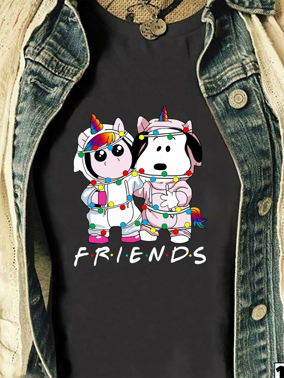 snoopy and Unicorn Ugly light Christmas charlie brown the peanuts fans Horse snoopy and friends Dabbing Around Funny Christmas party T shirt Long Sleeve Sweatshirt Hoodie Jolly Family Gifts