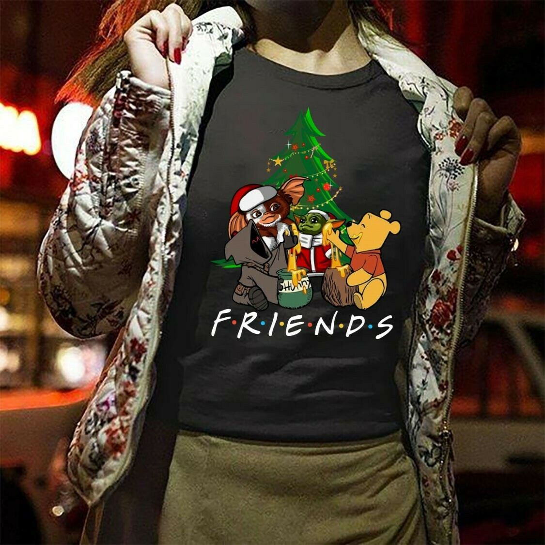 Disney Baby Stitch Yoda and Gizmo hugging tree christmas,Lilo Friends Star War Plus Festive Force Cover Baby Groot Funny Xmas party Shirt Long Sleeve Sweatshirt Hoodie Jolly Family Gifts