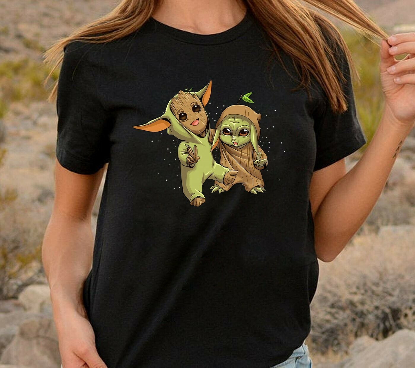 Baby Yoda and Groot Novelty Gift,Best friends of the Galaxy tee,Groot Hugging Baby Yoda The Mandalorian Baby Yoda Mixed Groot T shirt Long Sleeve Sweatshirt Hoodie Jolly Family Gifts