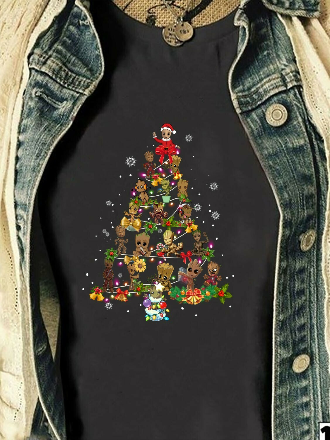 Baby Groot Guardians of the Galaxy Christmas Tree The Mandalorian Ugly Christmas Darth Vader Stromtrooper Boba Party Disney Villains Shirt Long Sleeve Sweatshirt Hoodie Jolly Family Gifts