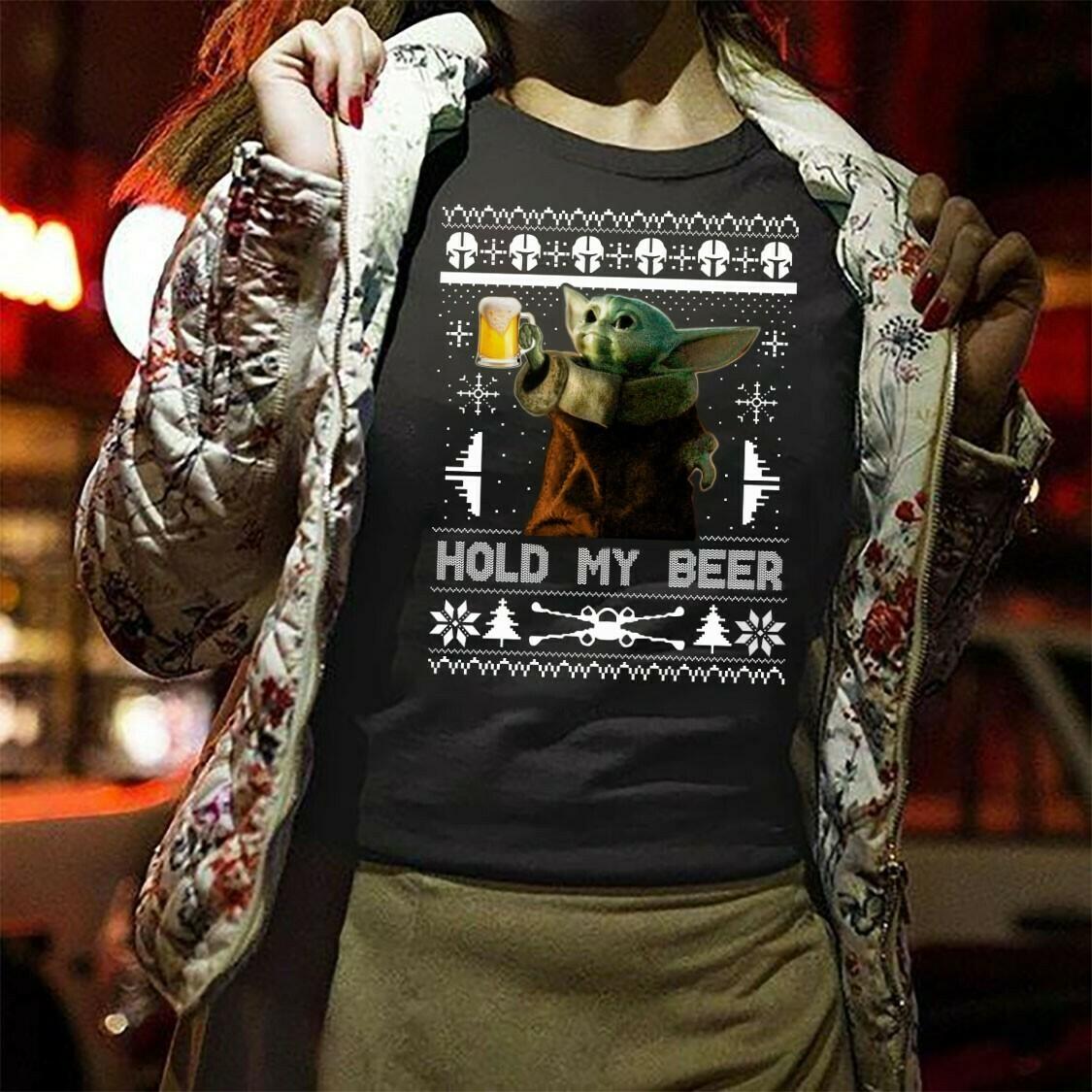 Hold My Beer Baby Yoda,Baby Yoda Spirit Animals,Star Wars Yoda Travel Mug,Yoda hold my beer 3d sweater T-Shirt Long Sleeve Sweatshirt Hoodie Jolly Family Gifts