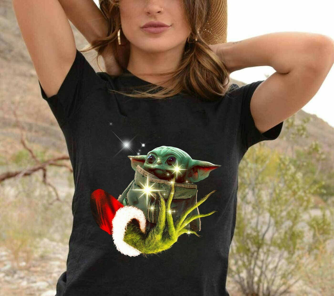 Grinch Hand Holding Baby Yoda Christmas Apparel Mandalorian Baby Yoda Star Wars Grinch magic of Christmas Merry Grinchmas T-Shirt Long Sleeve Sweatshirt Hoodie Jolly Family Gifts