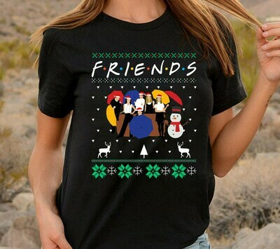 Stranger Thing Christmas Tv Show Friends with umbrellas Best friend Gift Rachel Monica Joey Phoebe Chandler Ross Santa Ralphie Clark Shirt Long Sleeve Sweatshirt Hoodie Jolly Family Gifts