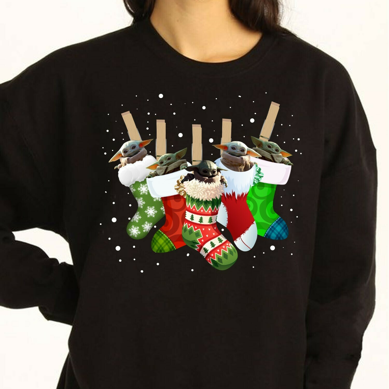 Socks Baby Yoda Ugly Merry Christmas Star War Plus The Mandalorian Gift Buffalo Plaid Socks Yoda And Friend Xmas Noel Family Party Shirt Long Sleeve Sweatshirt Hoodie Jolly Family Gifts