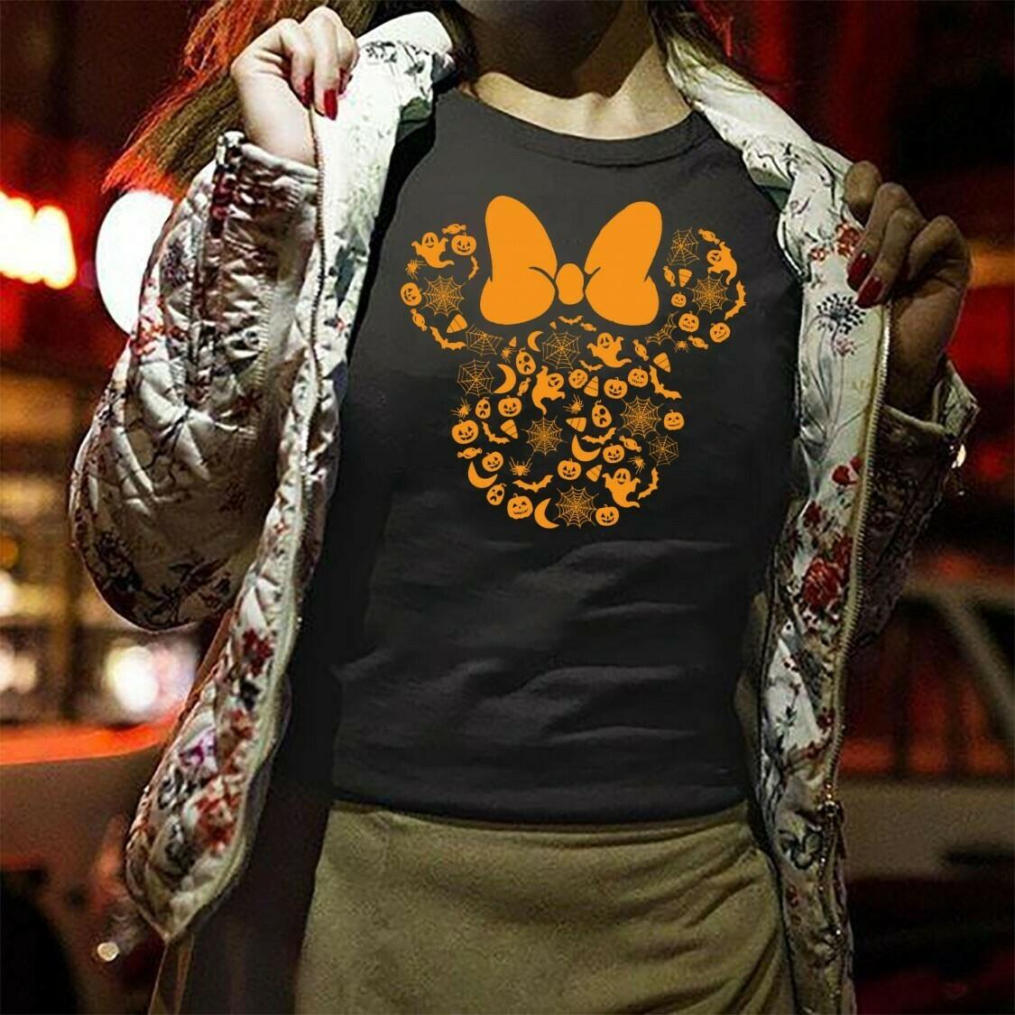 Disney Minnie Mouse Head Halloween Pumpkin Boo Bat Let's Go to Disney World Disneyland Tee Park T Shirt Long Sleeve Sweatshirt Hoodie Jolly Family Gifts