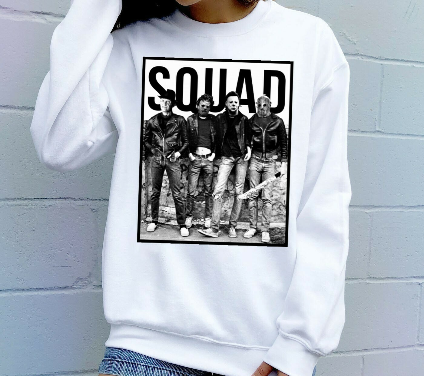 Squad Villains Halloween Horror movie mashup Halloween squad tee tshirt T Shirt Long Sleeve Sweatshirt Hoodie Jolly Family Gifts