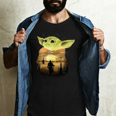 Star Wars Yoda Silhouette Sunset Cool Shiny Mysterious feel the force Mandalorian Baby Moon Power Retro Striped Vintage Sunset shirt Long Sleeve Sweatshirt Hoodie Jolly Family Gifts