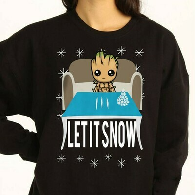 let it snow Groot Ugly Merry Christmas Star War Plus The Mandalorian with lines of cocaine Xmas 2019 Gifts Noel Family Party Shirt Long Sleeve Sweatshirt Hoodie Jolly Family Gifts