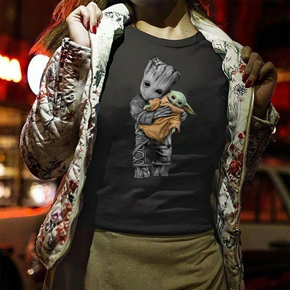 Groot mashup baby yoda shirt,star wars 2019 designs,star wars gifts,Funny Star Wars The Mandalorian The Child First Memories Floating Pod Long Sleeve Sweatshirt Hoodie Jolly Family Gifts