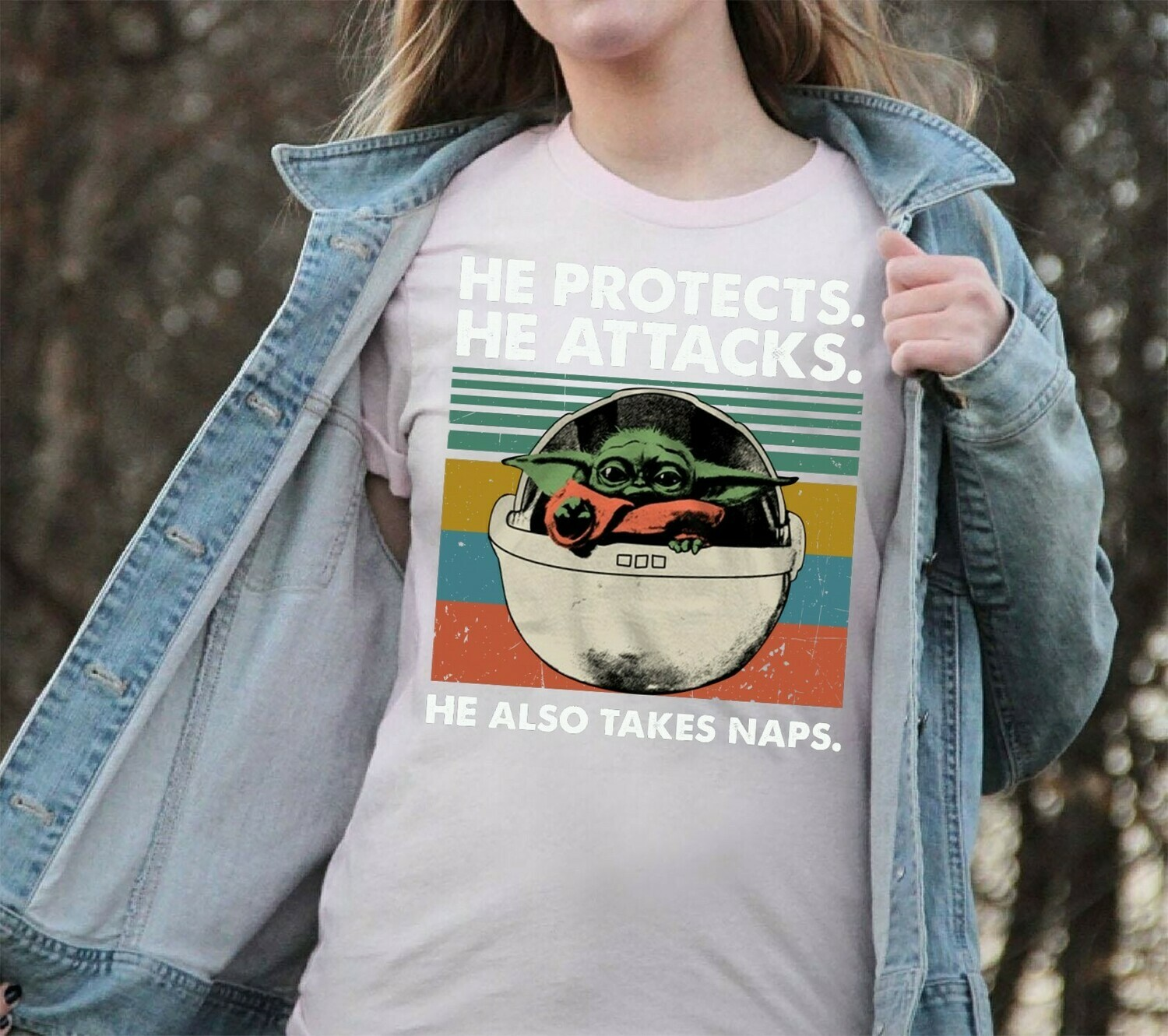 Baby Yoda He Protects He Attacks He Also Takes Naps,Star Wars The Mandalorian The Child First Memories Floating Pod T-Shirt Long Sleeve Sweatshirt Hoodie Jolly Family Gifts