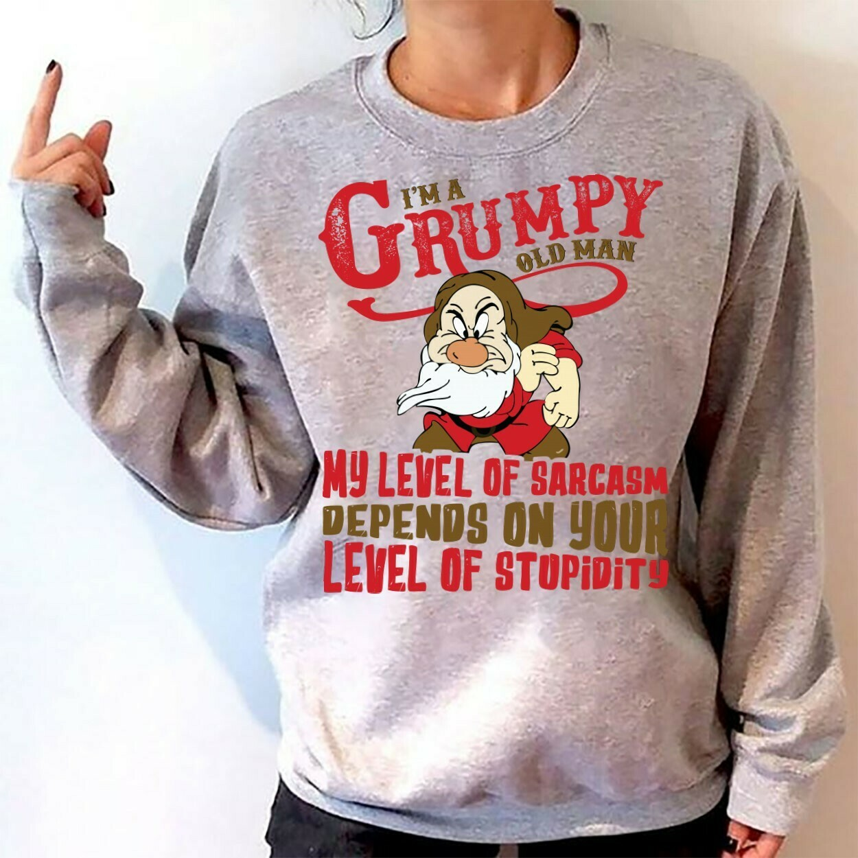 Disney Grumpy Dwarfs I'm Grumpy Old Man,Snow White and the Seven Dwarfs,Walt Disney World,Grumpy Old Man,Dopey Seven Dwarfs T Shirt Long Sleeve Sweatshirt Hoodie Jolly Family Gifts
