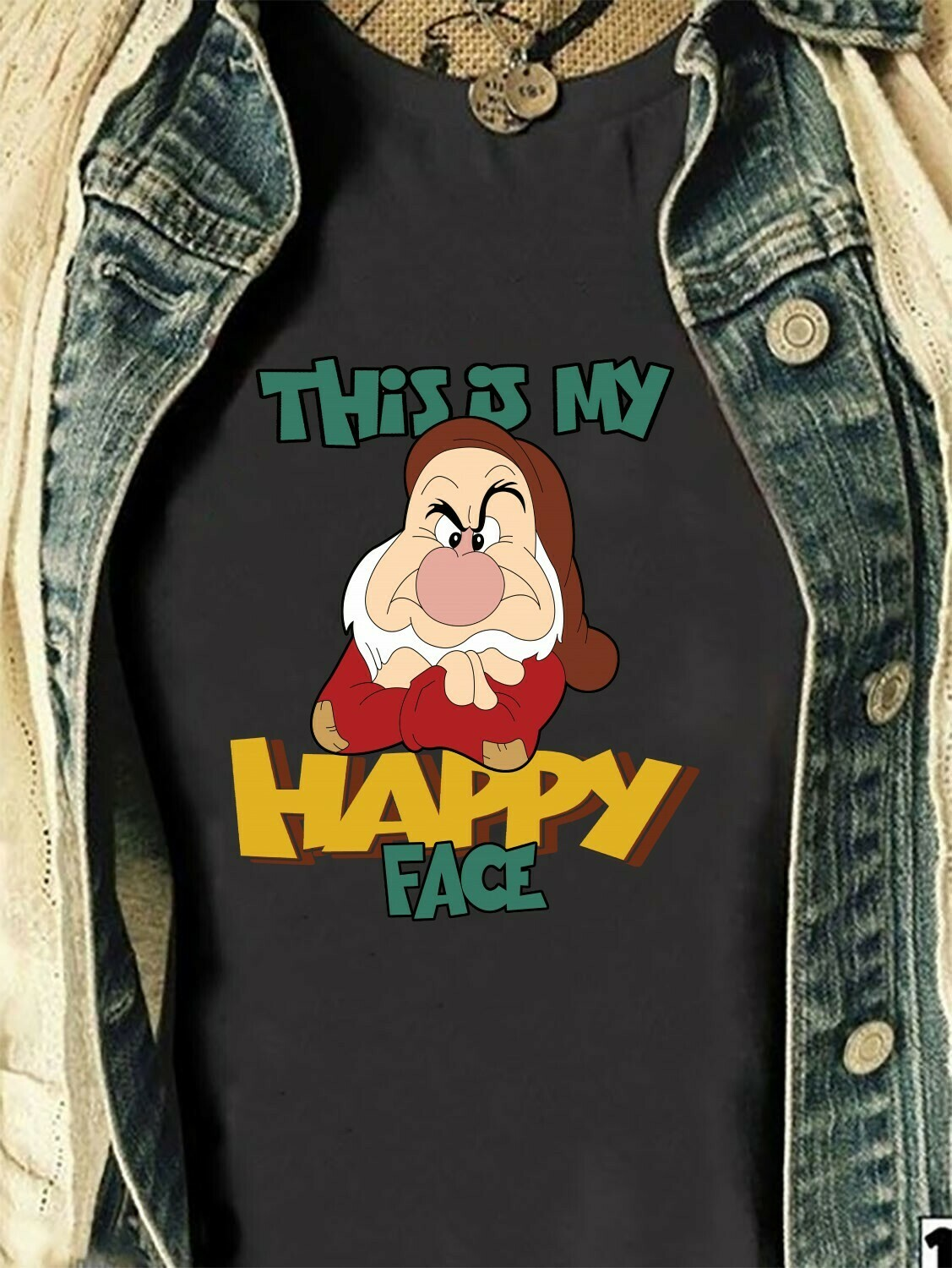 Disney Grumpy Seven Dwarfs This is my Happy face Snow White and the Seven Dwarfs,Walt Disney World,Grumpy Old Man,Dopey Seven Dwarfs T Shirt Long Sleeve Sweatshirt Hoodie Jolly Family Gifts