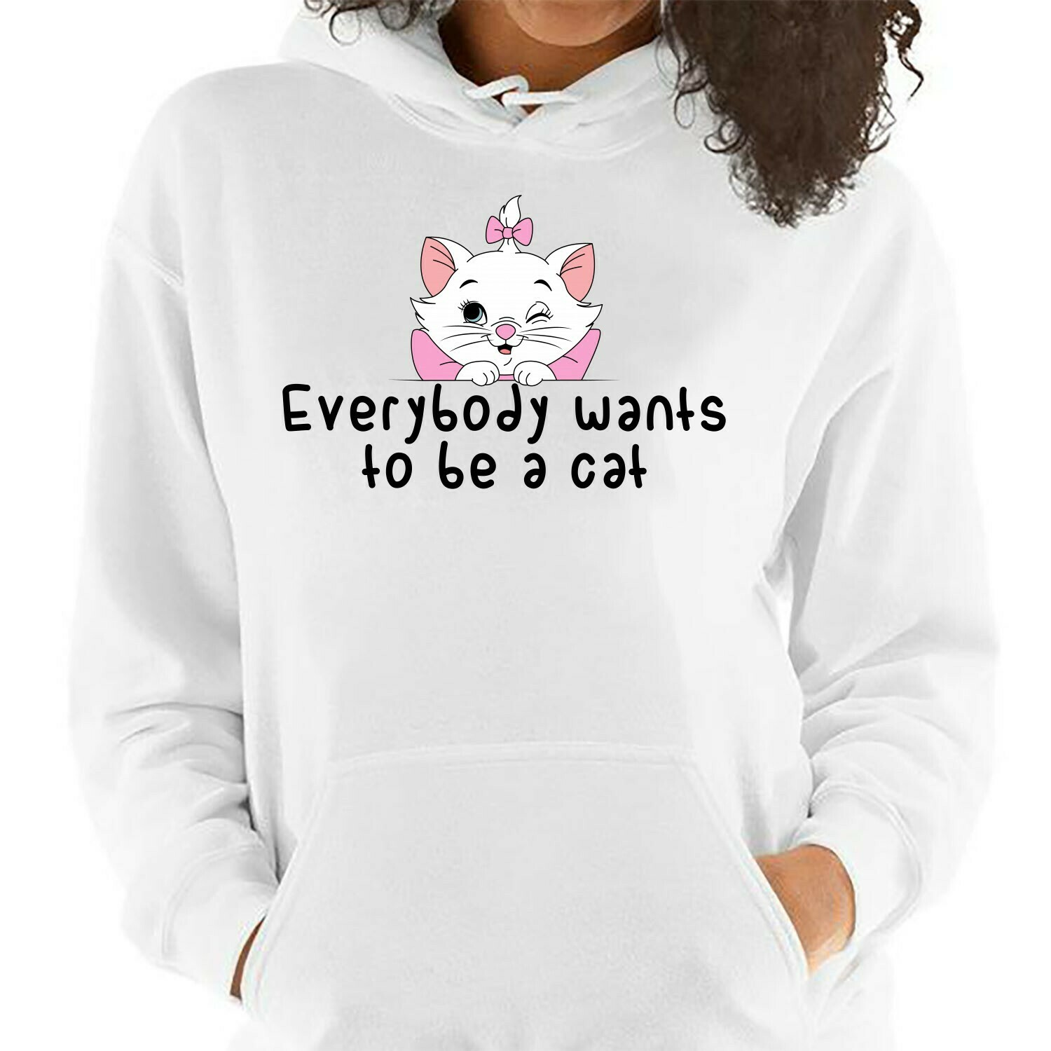 Disney Lady Aristocats Marie Everybody Wants To be A Cat T shirt,Walt Disney World,The Aristocats Movie,Disney Kitten Shirt,Cat Lovers Gifts Long Sleeve Sweatshirt Hoodie Jolly Family Gifts