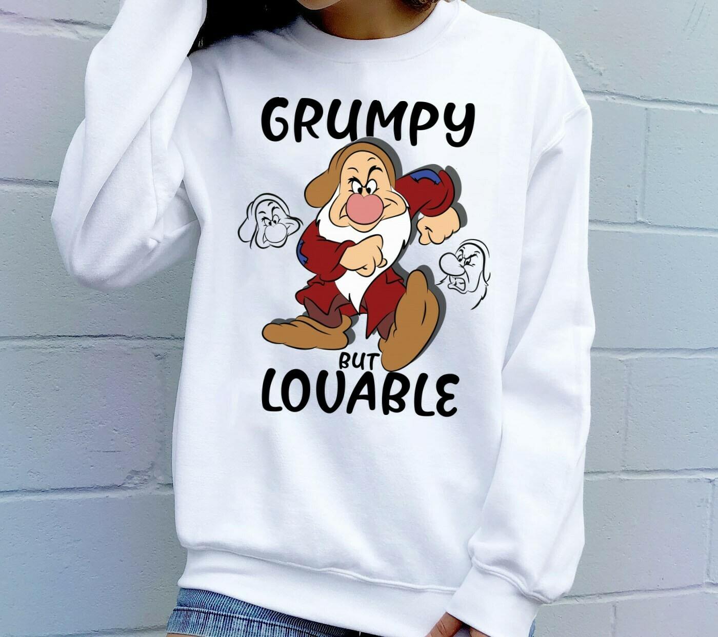 Disney Grumpy Dwarfs Grumpy But Lovable,Snow White and the Seven Dwarfs,Walt Disney World,Grumpy Old Man,Dopey Seven Dwarfs T Shirt Long Sleeve Sweatshirt Hoodie Jolly Family Gifts