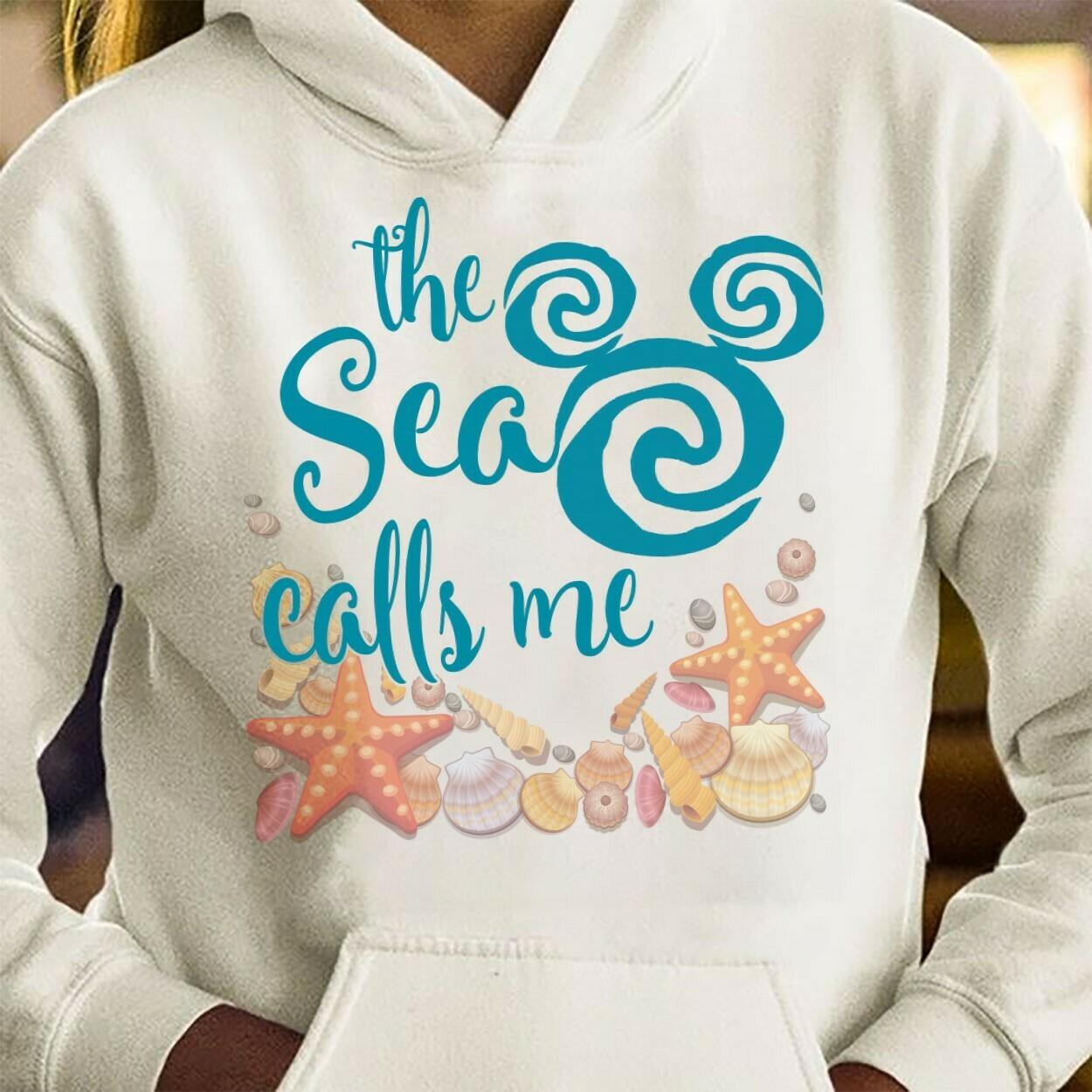 The Sea Calls Me Girls Moana tee,The Sea Calls Me Rosegold Disney Vacation sea stars sea snail Shirt Long Sleeve Sweatshirt Hoodie Jolly Family Gifts