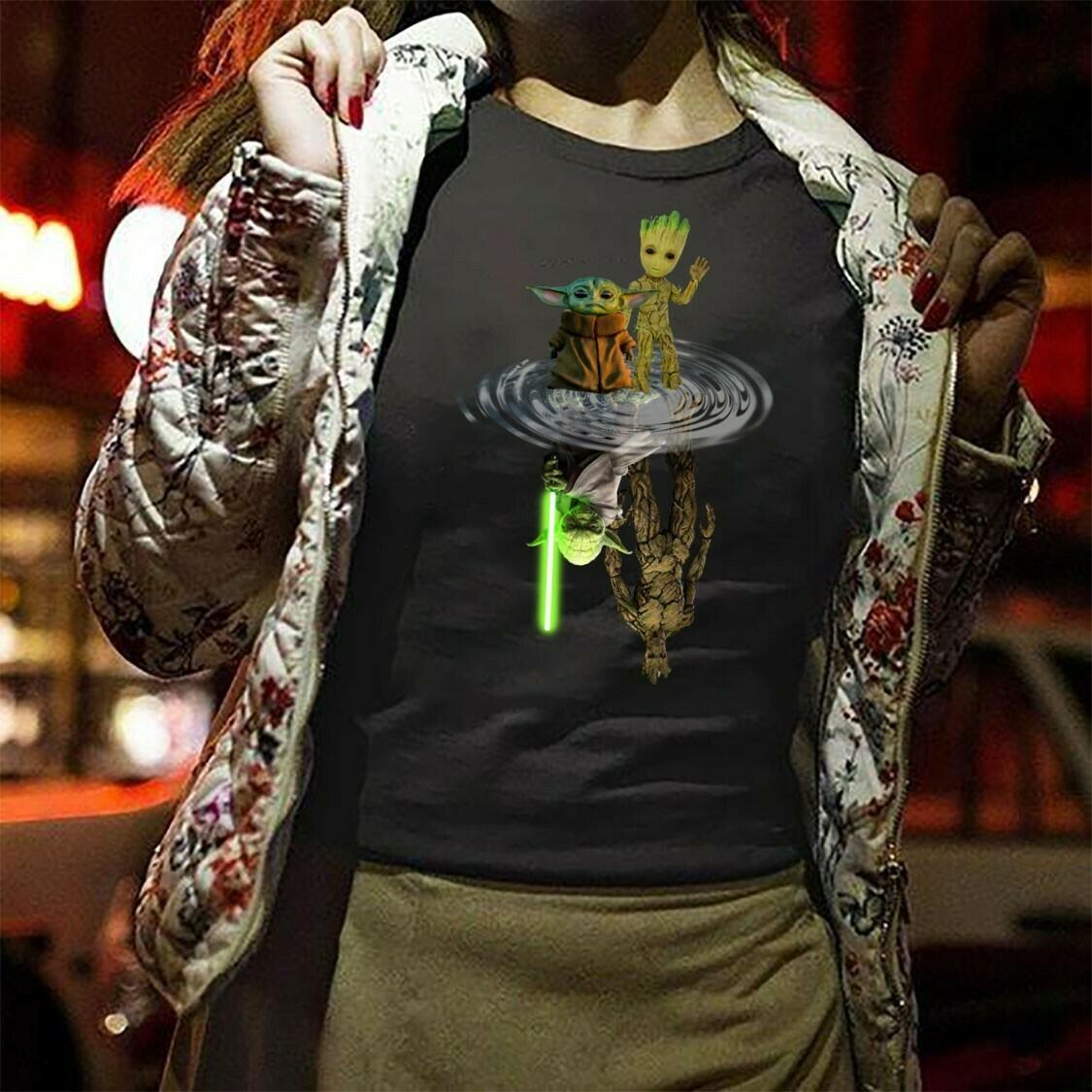 Baby Yoda Groot and Master Yoda Groot Water Reflection The Mandalorian Star Wars Kawaii King Boba Fett Lion King Pride Rock T-Shirt Long Sleeve Sweatshirt Hoodie Jolly Family Gifts