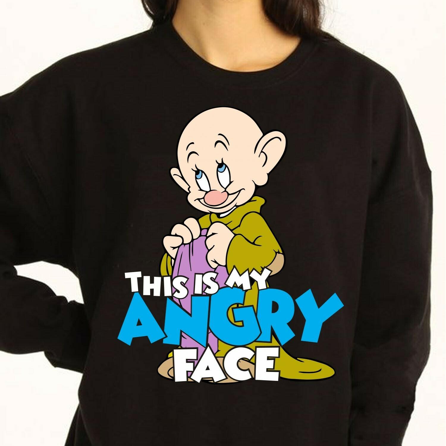 Disney Dopey Dwarf This Is My Angry Face,Snow White and the Seven Dwarfs,Walt Disney World,Disney Grumpy Old Man,Dopey Seven Dwarfs T Shirt Long Sleeve Sweatshirt Hoodie Jolly Family Gifts