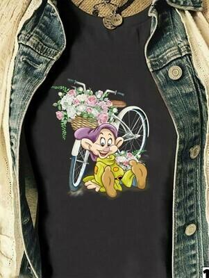 Disney Dopey Dwarf With Bicycle T-shirt,Snow White and the Seven Dwarfs,Walt Disney World,Disney Grumpy Old Man,Dopey Seven Dwarfs T Shirt Long Sleeve Sweatshirt Hoodie Jolly Family Gifts